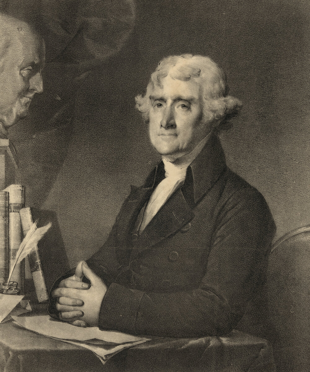 Thomas Jefferson. Looks Like John Adams peaking in nearby :)