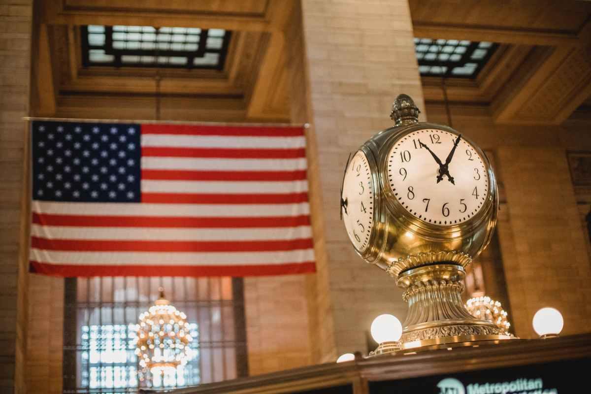 vintage clock against american flag