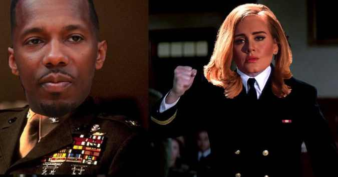 Adele and Rich Paul as Tom Cruise and Jack Nicholson in A Few Good Mean