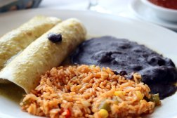 Chicken Buritto with Mexican Rice and Refried Black Beans
