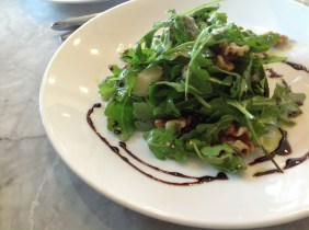 My mum went with an arugula, pear, walnut, blue cheese salad with balsamic