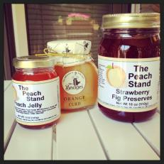Peach Jelly (my purchase) Orange Curd, Strawberry Fig Preserves (mum's)