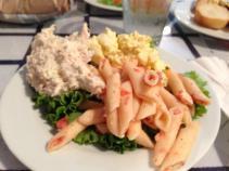 Mum's plate: Chicken Salad, Egg Salad, Pasta Salad