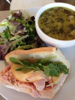 Mum had the Black Forest ham sandwich with gouda and lusty monk mustard on a baguette with a bowl of Spinach, Bacon, White Bean, Garlic Soup.