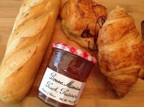 Rosemary Baguette, Chocolate and Original Croissant and French Peach Preserves.