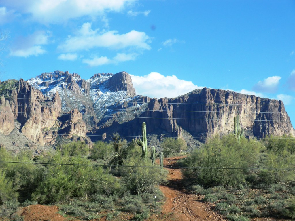Snow-covered Superstition Mountains Arizona
