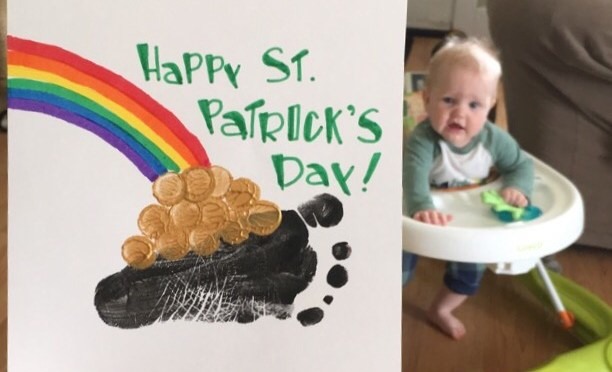 Monthly Footprint Art:  St. Patrick's Day Crafts