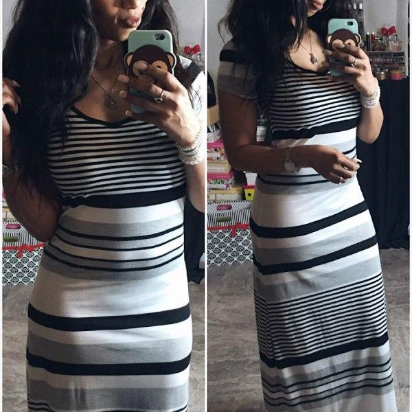 Striped Maxi & Messy Hair