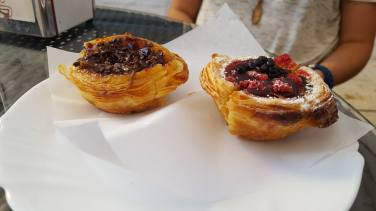 In Porto (one has chocolate and the other berries)