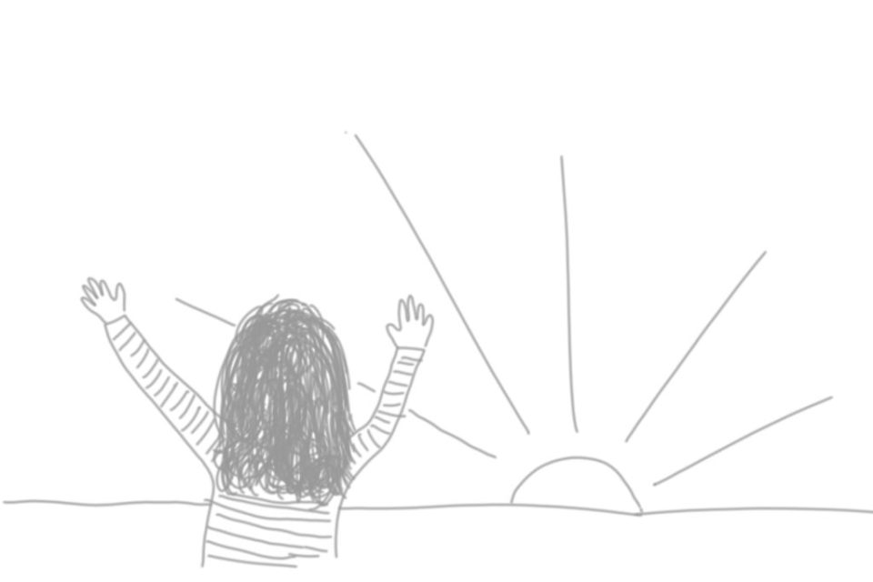 Cartoon doodle of a person with arms outstretched to the rising sun