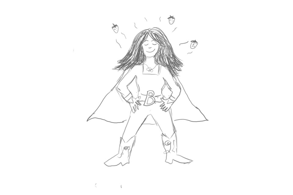 cartoon image of a superhero with strawberry scented hair