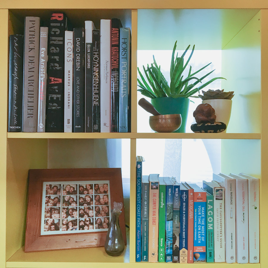 Image of a yellow bookshelf with books, photo frame, plants and singing bowl