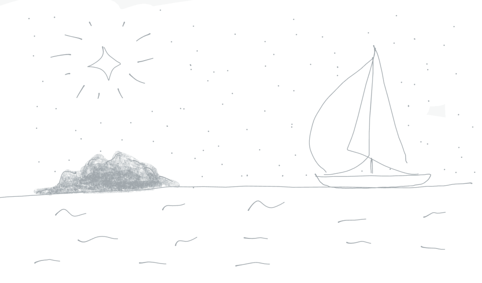 cartoon image of a boat sailing towards an island under the brightest star