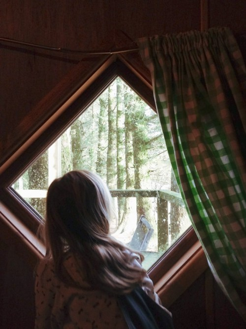 image of a girl looking out of the window at a forest