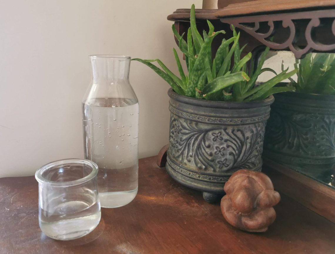Daily Dedication Routine - Glass of water, aloe vera plant and wooden Buddha ornament