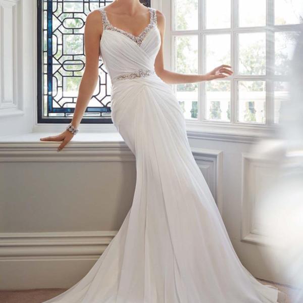 Elegant Mermaid Straps Beading Backless Court Wedding Dress Image Source: weddingshe.com Image Hosted on The Lifestyle Avenue's server