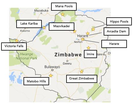 Zimbabwe map
