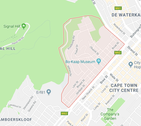 Bo kaap location map