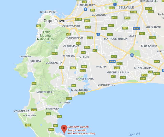 Boulders Beach - Cape Town - map
