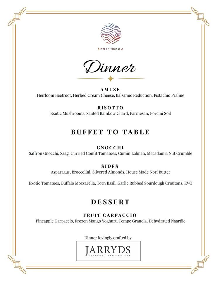 Dinner-Menu- Retreat Yourself - Cape Town - South Africa