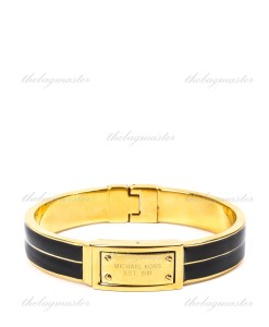 Michael Kors Logo Plaque Black Enamel Gold Tone Bangle