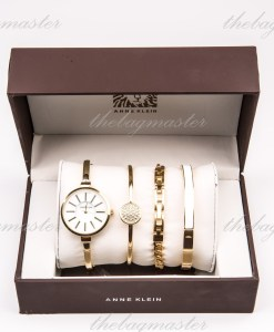Anne Klein Bangle Watch and Bracelet Set Gold