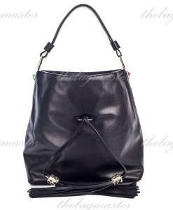 Karl Lagerfeld Paris Tasseled Leather Hobo Bag Black