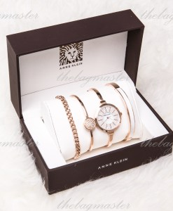 ANNE KLEIN AK/1471RGST [Heart of Ocean Hall 2] Rose Gold-Tone white diamond bracelet watch & Kit 32mm