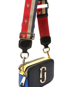 183ca131755a ... Marc Jacobs Snapshot Camera Bag - Black Blue Yellow with Stars   Stripe  Strap ...
