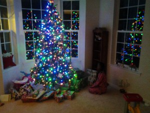 A snuck down to look at Christmas gifts under the tree.