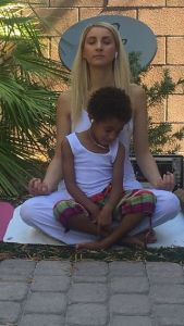 Mother and Son Meditate