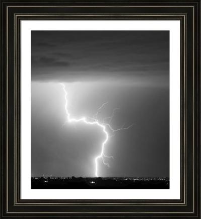 C2G Lightning Strike Black White fine art framed print