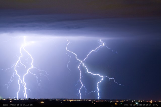 Lightning X In The Sky - Fine Art Lightning Photography Print, Canvas Art and Stock image.  Please Click on Image to go to the Gallery