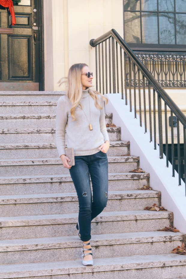 Lifestyle blogger Leigha Gardner of The Lilac Press wearing a dressed up casual denim look in the streets of Boston