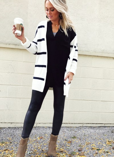Stripes and Leggings :  Winter Style