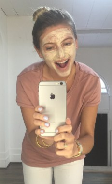 Madison wearing LimeLight's clay mask