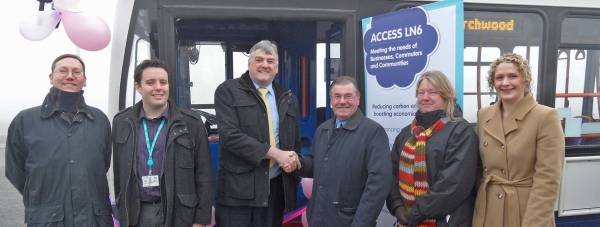 Bus users Andrew Harrison and Richard Arnatt from Siemens, Gary Nolan from Stagecoach East Midlands, Cllr William Webb from Lincolnshire County Council, bus user Sharon Dawson from Siemens and Chantelle Grundy, Access LN6 Project Manager