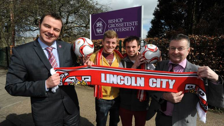 Rob Jones, Director of Enterprise at BGU, Aaron Smith, Students' Union Vice-President, Jamie Caress, Students' Union President-elect, and Russell Moore, Lincoln City's Commercial Manager