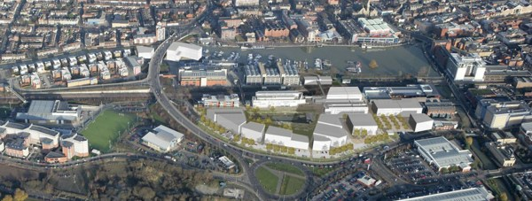 The overall masterplan for the University's new buildings.