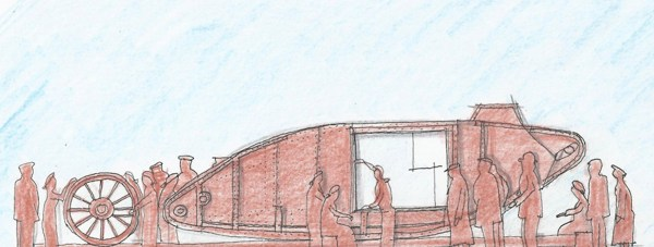 A sketch of the memorial layout, which would sit in the middle of Tritton Road roundabout. Photo: Lincoln Tank Memorial Group