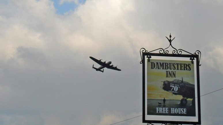 A flypast over the Scampton village and Dambusters Inn. Photo: David Cash