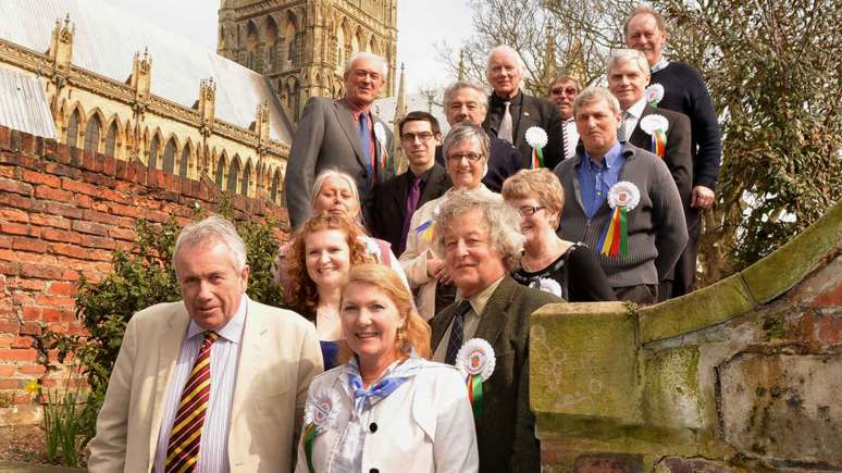 Lincolnshire Independents leader Marianne Overton (front right) with Martin Bell (front left) and the candidates group before the local elections.