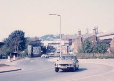 Canwick Road in the 1970s, featuring a bridge and a roundabout which has since been replaced with traffic lights. Photo provided by Lee Bruce.
