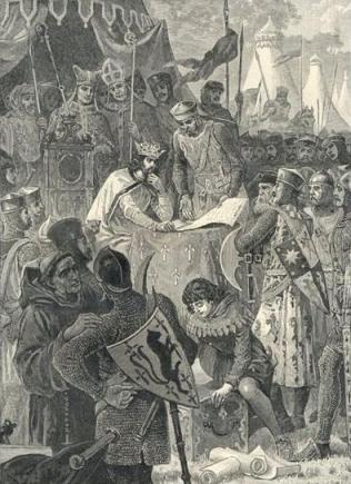 King John signing the Magna Carta, with Archbishop Langton looking on.