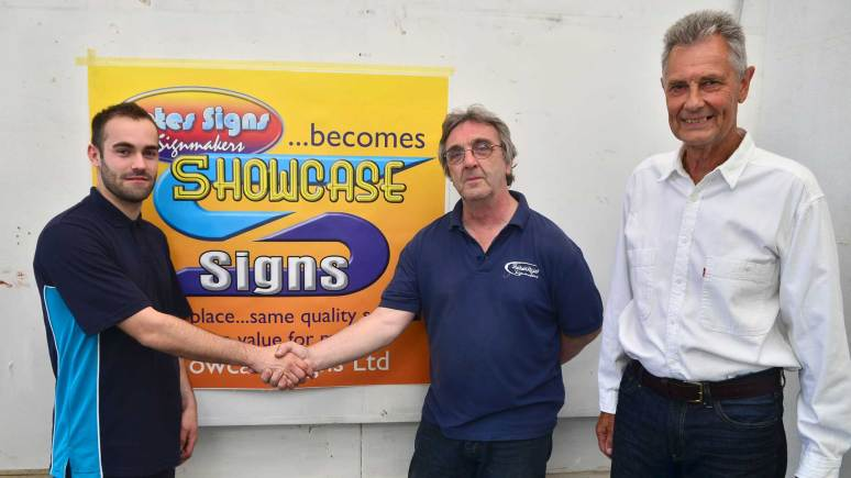 (L-R) Showcase Signs owner Simon Balfe, Director George Mitchell, and Pete's Signs owner Peter Collins. Photo: Steve Smailes for The Lincolnite.