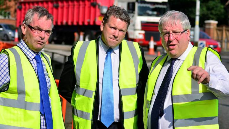 (L-R) Leader of Lincolnshire County Council Martin Hill, Lincoln MP Karl McCartney and Transport Minister Patrick McLoughlin MP at the Newark Road junction roadworks. Photo: Steve Smailes for The Lincolnite