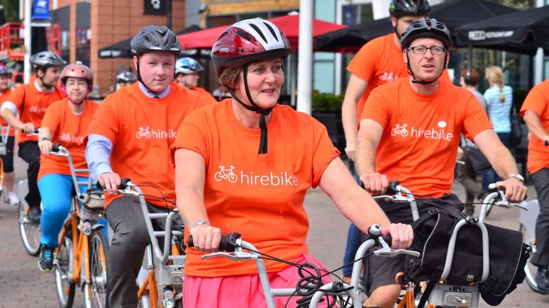 Lincoln Hirebike is similar to the Boris bikes scheme in London, but they are orange and much cheaper to use. Photo: Steve Smailes for The Lincolnite