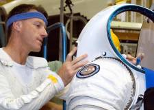 Lincolnshire-born astronaut Michael Foale prepares to don a Mark III advanced space suit technology demonstrator as he participates in a test at Johnson Space Center in 2006. Photo: NASA