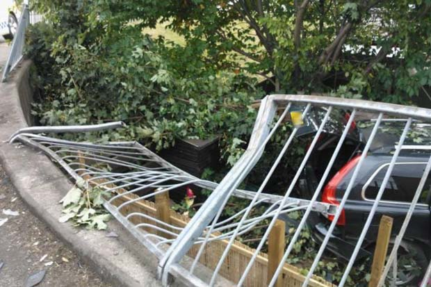 People living in the house were luckily not in the garden at the time of the incident.