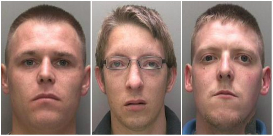 Jailed for burglary (L-R): Daniel Philip Besccoby (26), Aron Findley Duff (28), and Keith Andrew David Duff (27). Photos: Lincolnshire Police